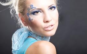 Картинка девушка, лицо, ресницы, модель, макияж, блондинка, губы