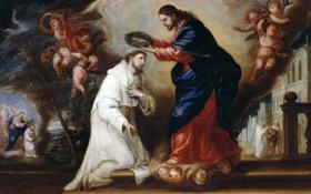Обои Святой Рамон Нонато Венчается Христом, Диего Гонсалес де ла Вега, мифология, картина