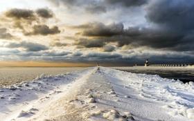 Картинка зима, мост, море, маяк