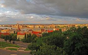 Обои Budapest, Венгрия, сверху, дома, фото, город, небо