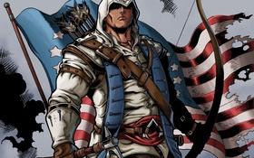 Обои флаг, лук, капюшон, стрела, убийца, connor, assassin's creed 3