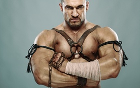 Обои eyes, muscles, gladiator, leather straps