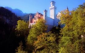 Картинка осень, деревья, горы, замок, башня, Германия, Бавария