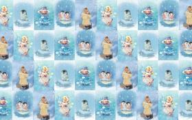 Обои девочка, пингвин, праздник, снег, фон, зима, детская