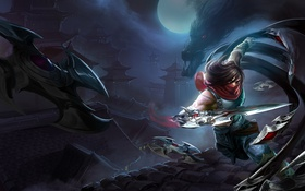 Обои Dragon, League of Legends, ninja, buildings, Talon