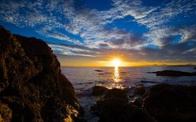 Картинка море, волны, небо, облака, пейзаж, закат, природа