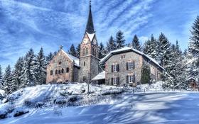 Картинка склон, снег, горы, Франция, зима, деревья, церковь