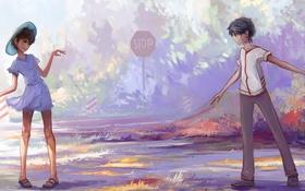 Картинка трава, знак, мальчик, арт, девочка