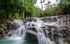 Обои лес, деревья, тропики, ручей, камни, водопад, Kuang Si Falls