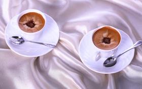 Обои кофе, чашки, ткань, ложки