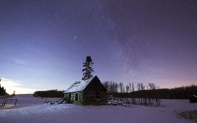 Обои зима, небо, звезды, домик