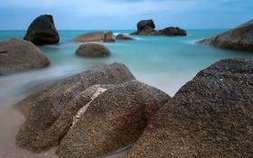 Обои пейзаж, камни, море