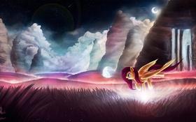 Обои трава, облака, горы, мультфильм, пони