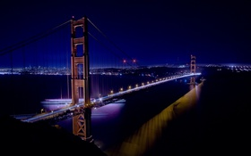 Обои мост, город, вечер, Сан-Франциско, Golden Gate Bridge, California, San Francisco