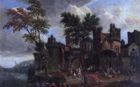 Обои Адриан Франс Будевинс, люди, Порт, деревья, дома, пейзаж, картина