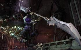 Обои смерть, оружие, лезвия, скелет, всадник, darksiders 2