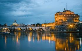 Обои огни, отражение, река, Рим, Италия, Тибр, Мост Святого Ангела