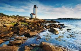 Картинка море, камни, побережье, маяк