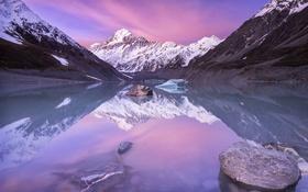 Обои озеро, гора, Новая Зеландия, Аораки