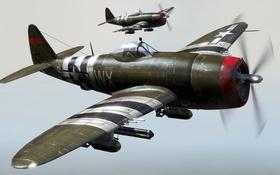 Картинка истребитель-бомбардировщик, Вторая Мировая, P-47 Thunderbolt