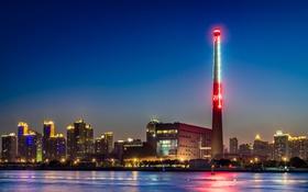 Обои небо, ночь, неон, Китай, Шанхай, дымоход, Река Хуанпу