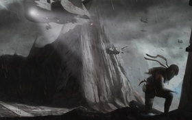 Картинка девушка, горы, вертолет, raider, Tomb, contest
