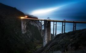 Картинка море, свет, ночь, линия, Калифорния, Bixby Bridge, Соединенные Штаты