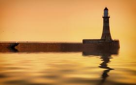 Обои ночь, море, маяк