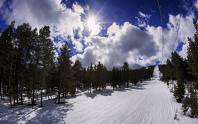 Обои холод, зима, облака, снег, пейзаж, природа