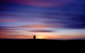 Картинка пейзаж, ночь, мельница