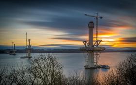 Обои закат, мост, река, edinburgh, New crossing
