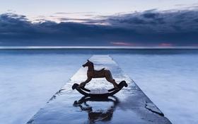 Картинка море, конь, небо