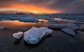 Обои лед, пейзаж, рассвет, океан