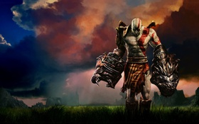 Обои sword, demigod, armor, god of war, kratos, god of war 3, ps3