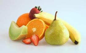 Обои апельсин, клубника, груша, фрукты, банан