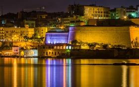 Обои Мальта, дома, стена, ночь, огни, море, Валлетта