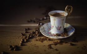 Обои зерна, напиток, кофе, чашка