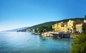 Обои море, горы, побережье, дома, залив, Хорватия, полуостров