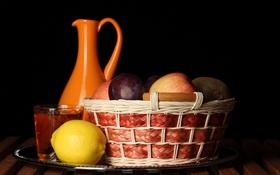 Обои лимон, яблоки, киви, кувшин