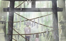 Картинка лес, аниме, мальчик, маска, лестница, девочка, Hotarubi no Mori e