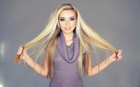Картинка взгляд, девушка, фон, волосы, руки, блондинка, свитер