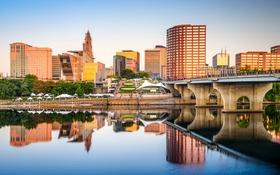 Обои вода, отражение, дома, США, набережная, Connecticut, Hartford