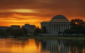 Обои небо, облака, озеро, здание, вечер, колонны, Вашингтон