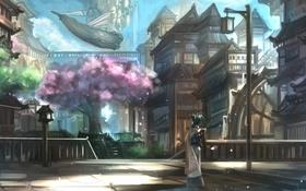 Картинка девушка, город, фантастика, водопад, сакура, неко, ушки