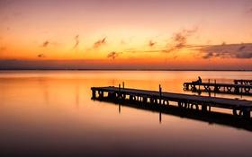 Обои мостик, зарево, пирс, море, человек, вечер, настроение