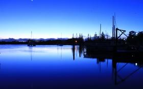 Обои небо, закат, озеро, лодка, вечер, яхта