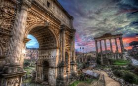Обои небо, облака, Рим, Италия, арка, колонны, руины
