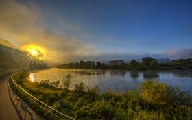 Картинка солнце, лучи, туман, река, рассвет, берег, Германия