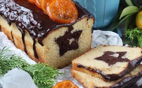 Картинка звезда, шоколад, выпечка, глазурь, кекс, мандарин