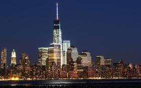 Картинка США, небо, ночь, огни, небоскреб, Нью-Йорк, дома